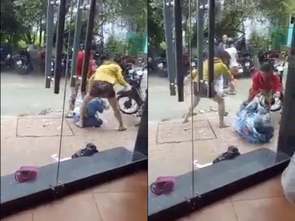 Phẫn nộ clip cô gái bị đổ sơn lên đầu, đánh bằng nón bảo hiểm ngay giữa phố nhưng không ai can ngăn
